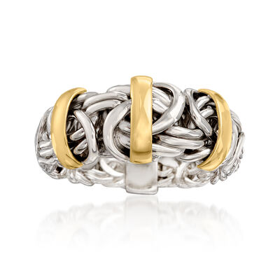 Two-Tone Byzantine Ring in Sterling Silver with 14kt Yellow Gold