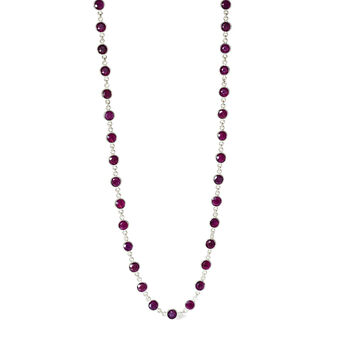 """30.00 ct. t.w. Ruby Station Necklace in Sterling Silver. 16"""", , default"""