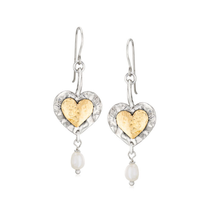 4.5-5mm Cultured Pearl Double-Heart Drop Earrings in Sterling Silver and 14kt Yellow Gold