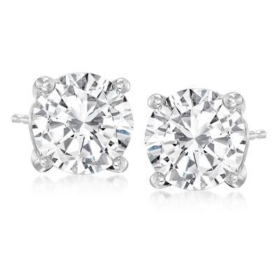 4.16 ct. t.w. Diamond Stud Earrings in 14kt White Gold