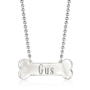 Personalized Dog Bone Necklace in Sterling Silver