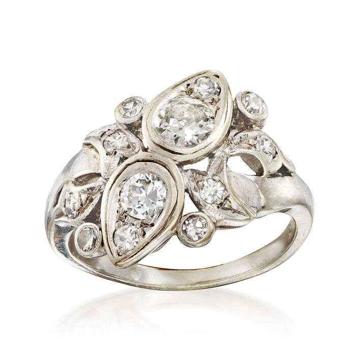 C. 1960 Vintage .90 ct. t.w. Diamond Cluster Ring in 14kt White Gold. Size 6, , default