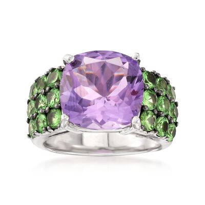 5.60 Carat Amethyst and 2.10 ct. t.w. Green Tsavorite Ring in Sterling Silver, , default