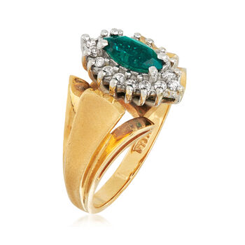 C. 1980 Vintage .35 Carat Synthetic Emerald and .25 ct. t.w. Diamond Ring in 14kt Yellow Gold. Size 5.5, , default