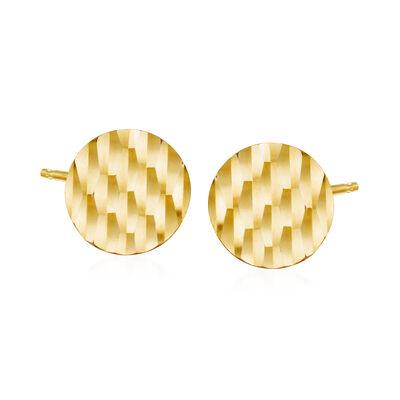 14kt Yellow Gold Diamond-Cut Round Stud Earrings, , default