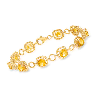7.50 ct. t.w. Citrine Line Bracelet in 14kt Gold Over Sterling, , default