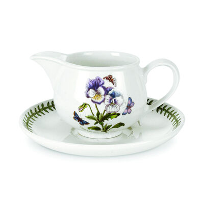 """Portmeirion """"Botanic Garden"""" Pansy Gravy Boat and Stand"""