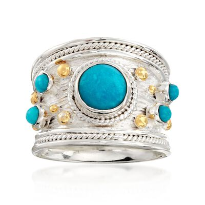 Turquoise Ring in Two-Tone Sterling Silver, , default