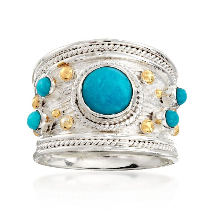 Turquoise Ring in Two-Tone Sterling Silver. Size 5, , default