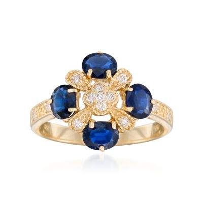 1.50 ct. t.w. Sapphire and .15 ct. t.w. Diamond Clover Ring in 14kt Yellow Gold, , default