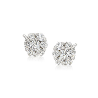 .25 ct. t.w. Diamond Flower Cluster Earrings in 14kt White Gold, , default