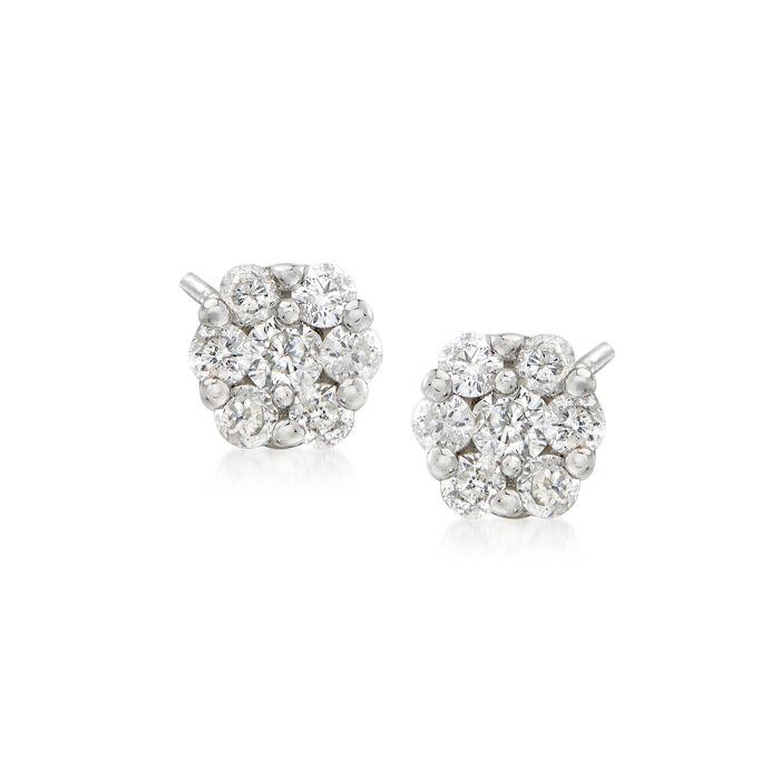 .25 ct. t.w. Diamond Flower Cluster Earrings in 14kt White Gold, , default