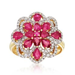 1.84 ct. t.w. Ruby and .41 ct. t.w. Diamond Floral Ring in 18kt Yellow Gold, , default
