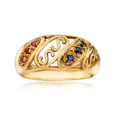 "C. 1990 Vintage .10 ct. t.w. Sapphire and .10 ct. t.w. Ruby ""S"" Ring in 18kt Yellow Gold, , default"