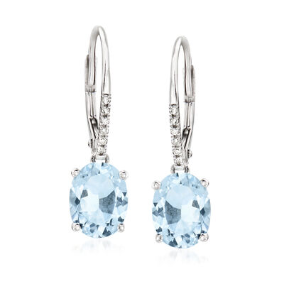 3.40 ct. t.w. Aquamarine Drop Earrings in 14kt White Gold
