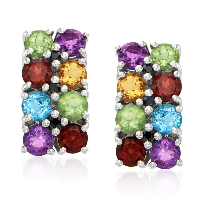 1.80 ct. t.w. Multi-Gemstone Earrings with Black Spinel Accents in Sterling Silver