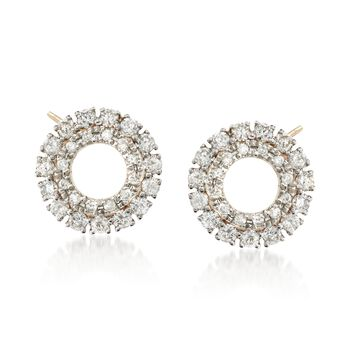 .40 ct. t.w. Diamond Open Double Frame Circle Earrings in 14kt Yellow Gold , , default