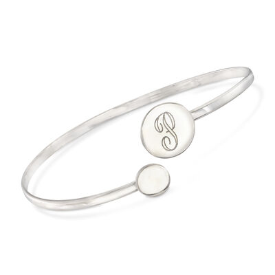 Italian Sterling Silver Single Initial Circle Bypass Bracelet, , default