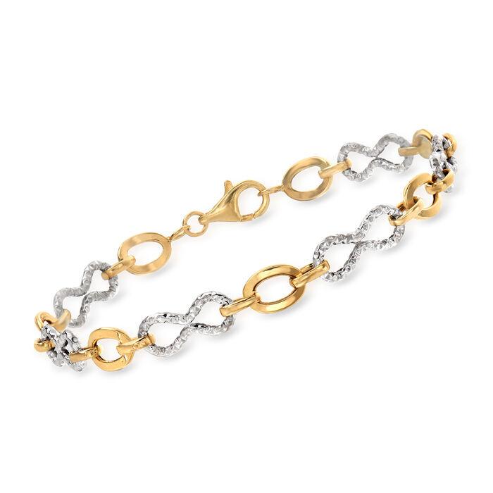 14kt Two-Tone Gold Infinity Link Bracelet