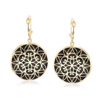 Black Onyx Drop Earrings in 14kt Yellow Gold, , default
