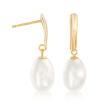 8.5-9mm Cultured Pearl Drop Earrings in 14kt Yellow Gold  , , default