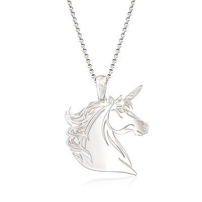 Italian Sterling Silver Unicorn Diamond-Cut Pendant Necklace, , default