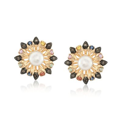 7-7.5mm Cultured Pearl and .44 ct. t.w. Multicolored Sapphire Flower Earrings with Brown Diamonds in 14kt Gold, , default