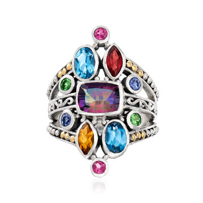 2.43 ct. t.w. Multi-Gemstone Split-Shank Ring in Sterling Silver and 18kt Yellow Gold