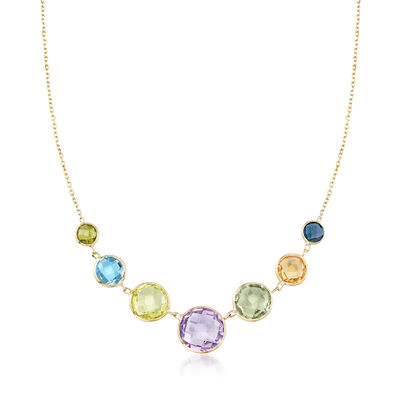 18.25 ct. t.w. Multi-Gemstone Graduated Necklace in 14kt Yellow Gold, , default