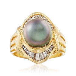 C. 1980 Vintage 9.5mm Black Cultured Pearl and .50 ct. t.w. Diamond Ring in 18kt Yellow Gold. Size 5.5, , default