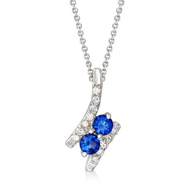 .40 ct. t.w. Sapphire and .12 ct. t.w. Diamond Two-Stone Pendant Necklace in 14kt White Gold, , default