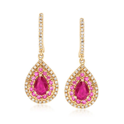 1.20 ct. t.w. Ruby and .40 ct. t.w. Pink Sapphire Drop Earrings with  Diamonds in 14kt Yellow Gold, , default
