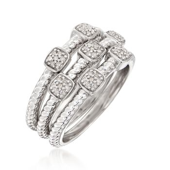 .20 ct. t.w. Diamond Jewelry Set: Three Rings in Sterling Silver, , default