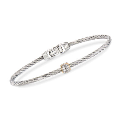 "ALOR ""Classique"" Gray Stainless Steel Cable Bracelet with Diamond Accents and 18kt Yellow Gold, , default"