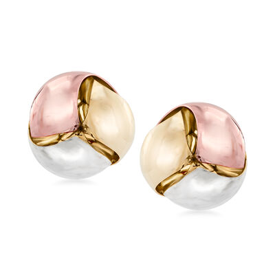 Italian 14kt Tri-Colored Gold Earrings, , default