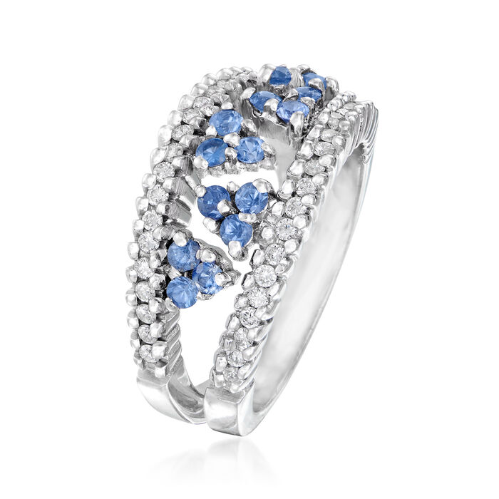 C. 1990 Vintage .75 ct. t.w. Sapphire and .55 ct. t.w. Diamond Cluster Ring in 18kt White Gold
