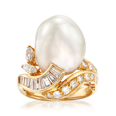 C. 1980 Vintage 16x12mm Cultured South Sea Pearl and .93 ct. t.w. Diamond Swirl Ring in 18kt Yellow Gold, , default