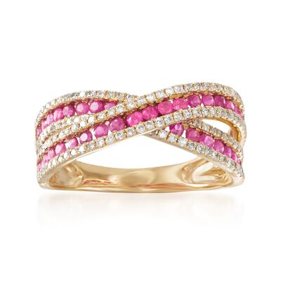 .70 ct. t.w. Ruby and .39 ct. t.w. Diamond Crisscross Ring in 14kt Yellow Gold, , default