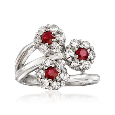 C. 1990 Vintage .90 ct. t.w. Diamond and .45 ct. t.w. Ruby Flower Bypass Ring in 14kt White Gold
