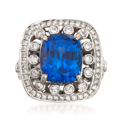 C. 2000 Vintage 10.15 Carat Tanzanite and 2.10 ct. t.w. Diamond Ring in 14kt White Gold, , default