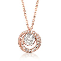 "Swarovski Crystal ""Generation"" Crystal Pendant Necklace in Rose Gold Plate. 14"", , default"