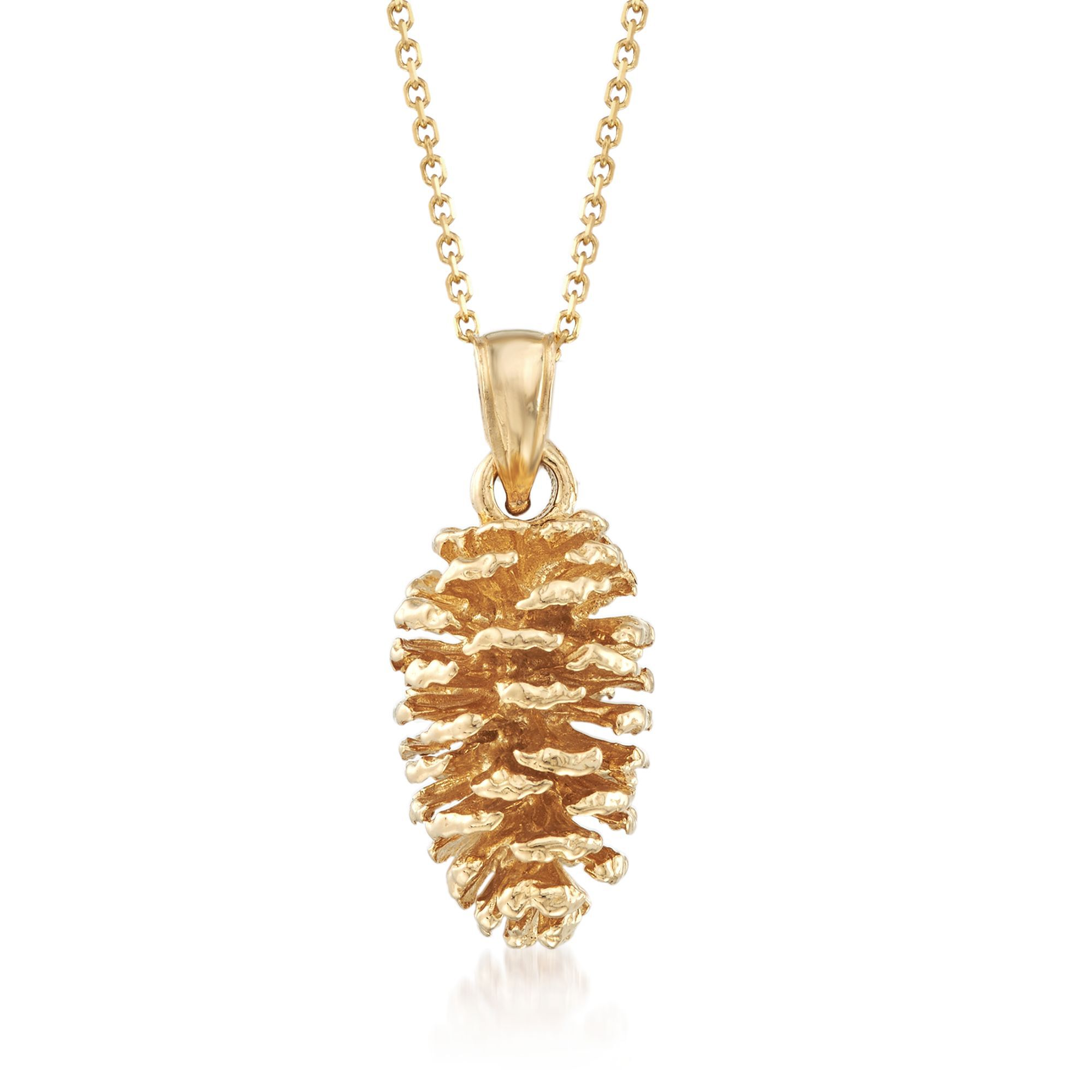 14K Yellow Gold 3-D Pine Cone Pendant on an Adjustable 14K Yellow Gold Chain Necklace