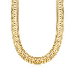 "18kt Yellow Gold Over Sterling Silver Five-Strand Multi-Link Necklace. 20"", , default"