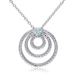".30 Carat Sky Blue Topaz and Sterling Silver Multi-Circle Pendant Necklace. 18"", , default"