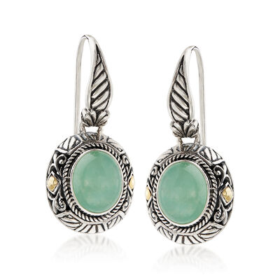 Oval Green Jade Bali-Style Drop Earrings with 18kt Yellow Gold in Sterling Silver, , default