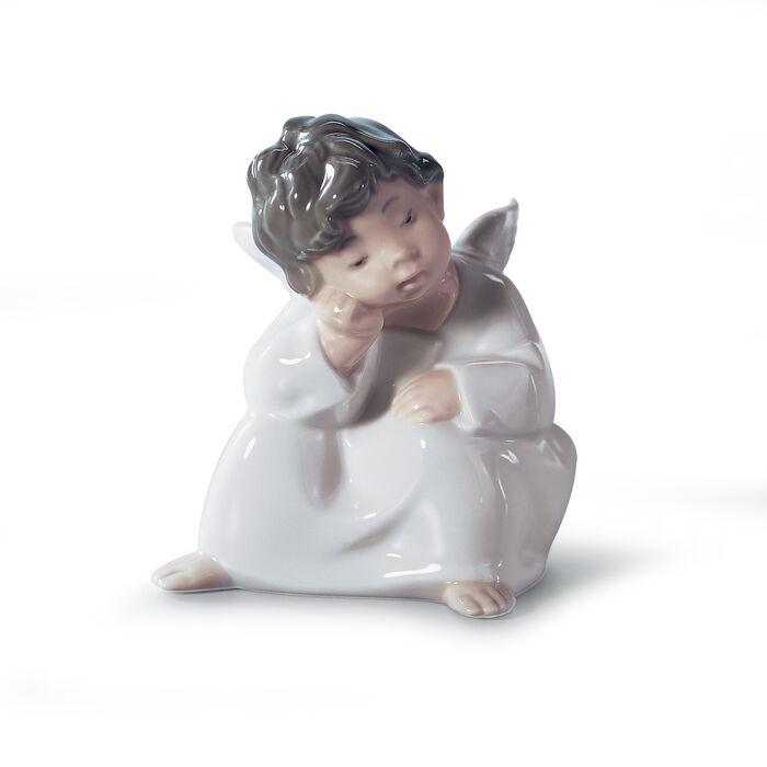 "Lladro ""Angel Thinking"" Porcelain Figurine , , default"