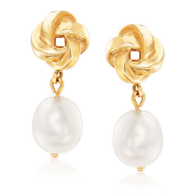 10x8mm Cultured Pearl Love Knot Drop Earrings in 14kt Yellow Gold, , default