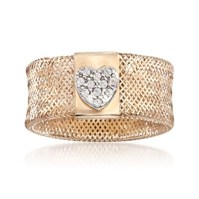 Italian .10 ct. t.w. White Zircon Heart Stretch Ring in 14kt Yellow Gold, , default