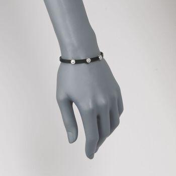 """ALOR """"Classique"""" .14 ct. t.w. Diamond Station Black Cable Bracelet With 18kt White Gold. 7"""", , default"""