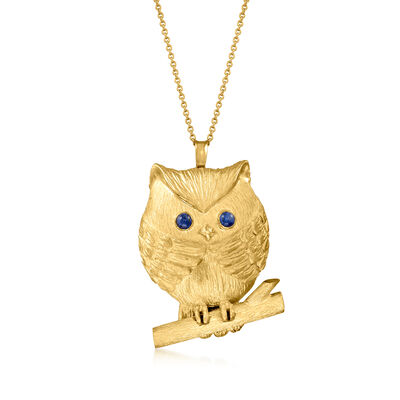 C. 1990 Vintage .34 ct. t.w. Sapphire Owl Pendant Necklace in 18kt Yellow Gold